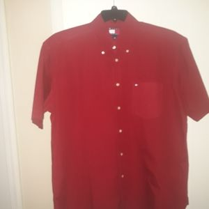 Tommy Hilfiger Button Down Short Sleeve Red Size L